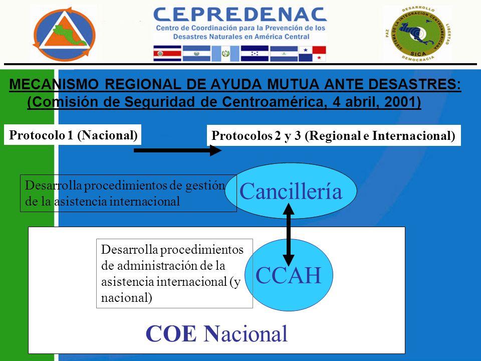 Cancillería CCAH COE Nacional