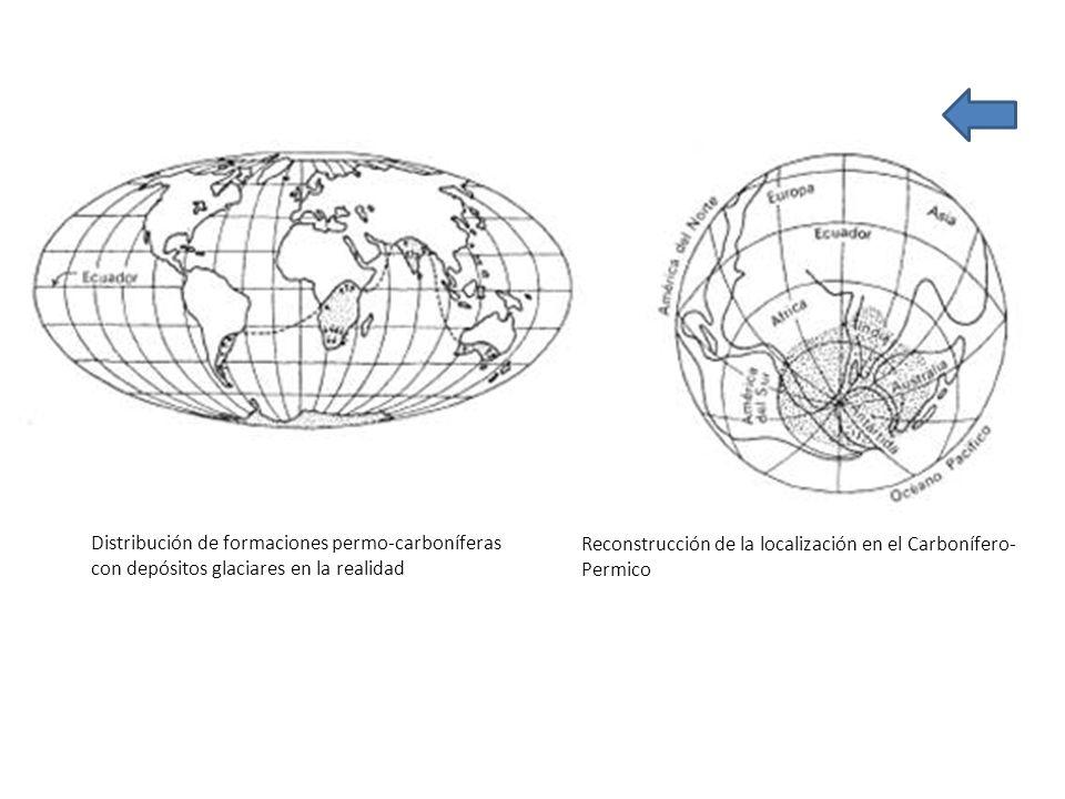 Distribución de formaciones permo-carboníferas con depósitos glaciares en la realidad