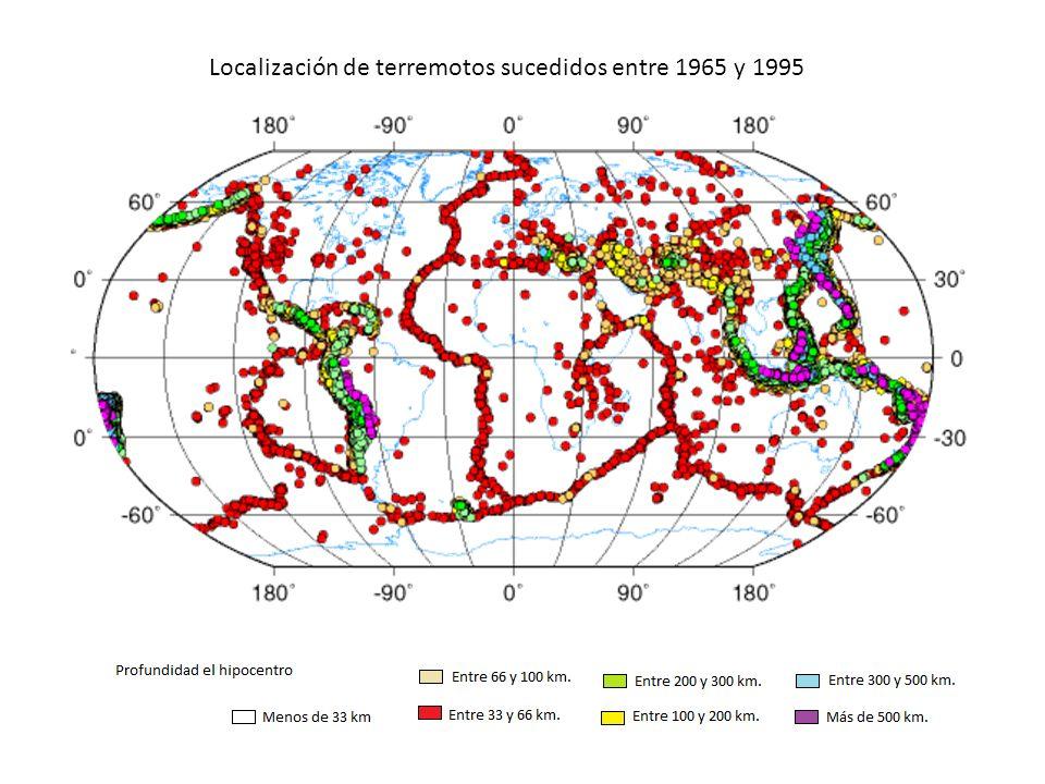 Localización de terremotos sucedidos entre 1965 y 1995