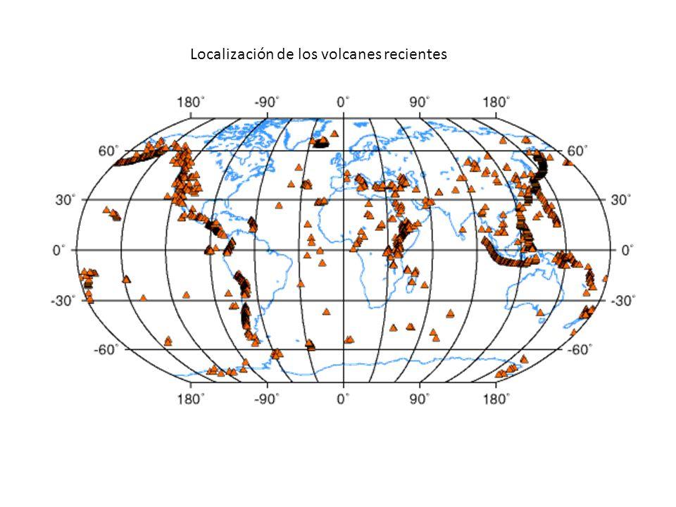 Localización de los volcanes recientes