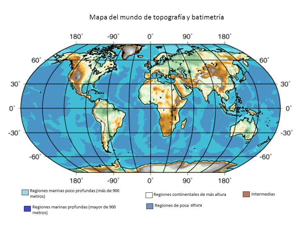 Mapa del mundo de topografía y batimetría