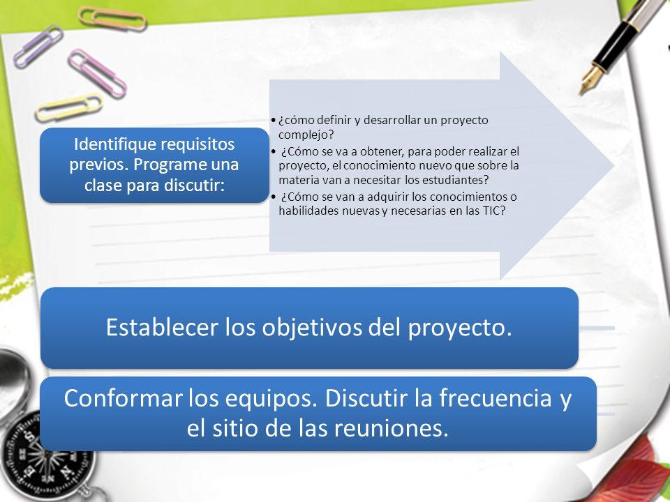 Establecer los objetivos del proyecto.