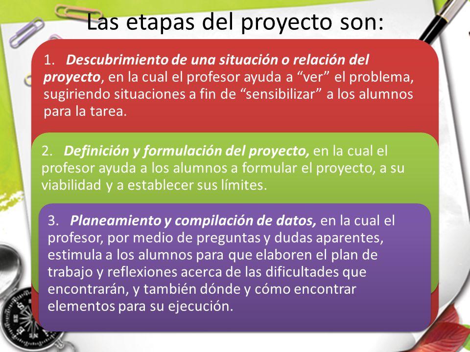 Las etapas del proyecto son: