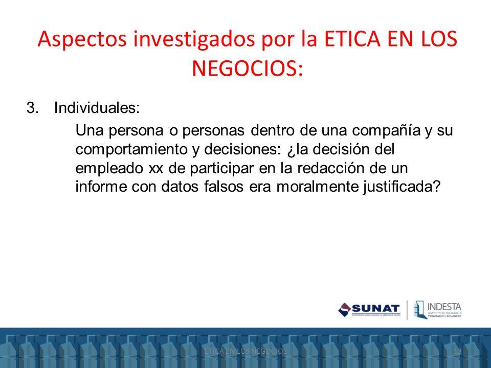 Aspectos investigados por la ETICA EN LOS NEGOCIOS: