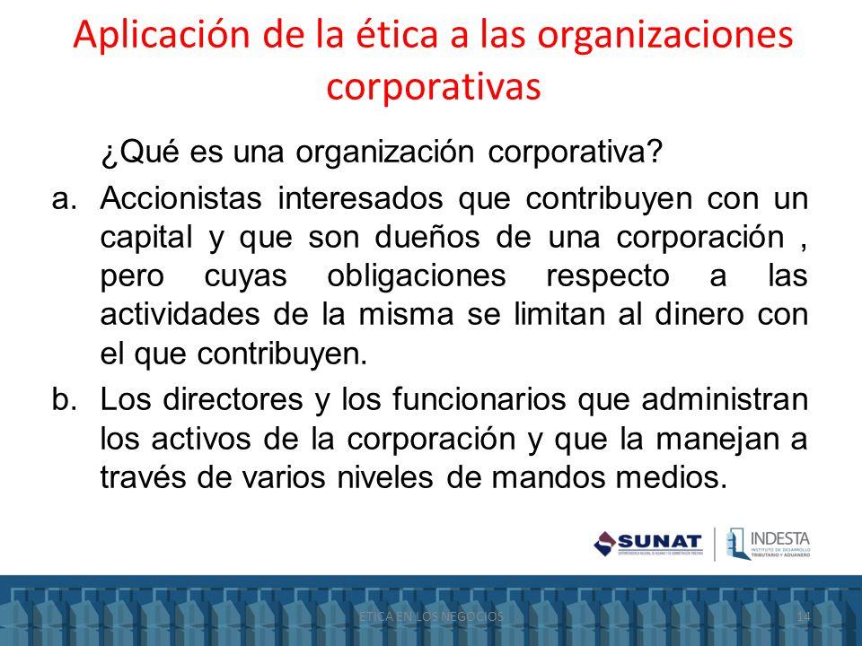 Aplicación de la ética a las organizaciones corporativas