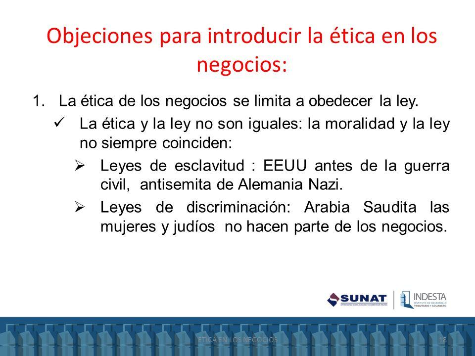 Objeciones para introducir la ética en los negocios: