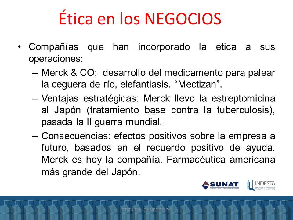 Ética en los NEGOCIOS Compañías que han incorporado la ética a sus operaciones: