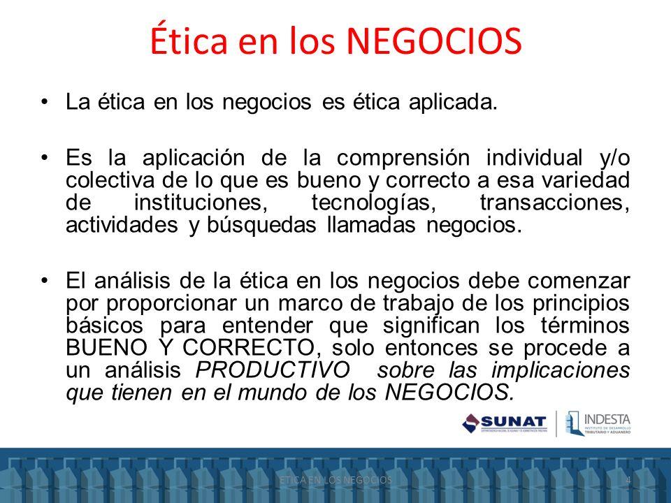 Ética en los NEGOCIOS La ética en los negocios es ética aplicada.