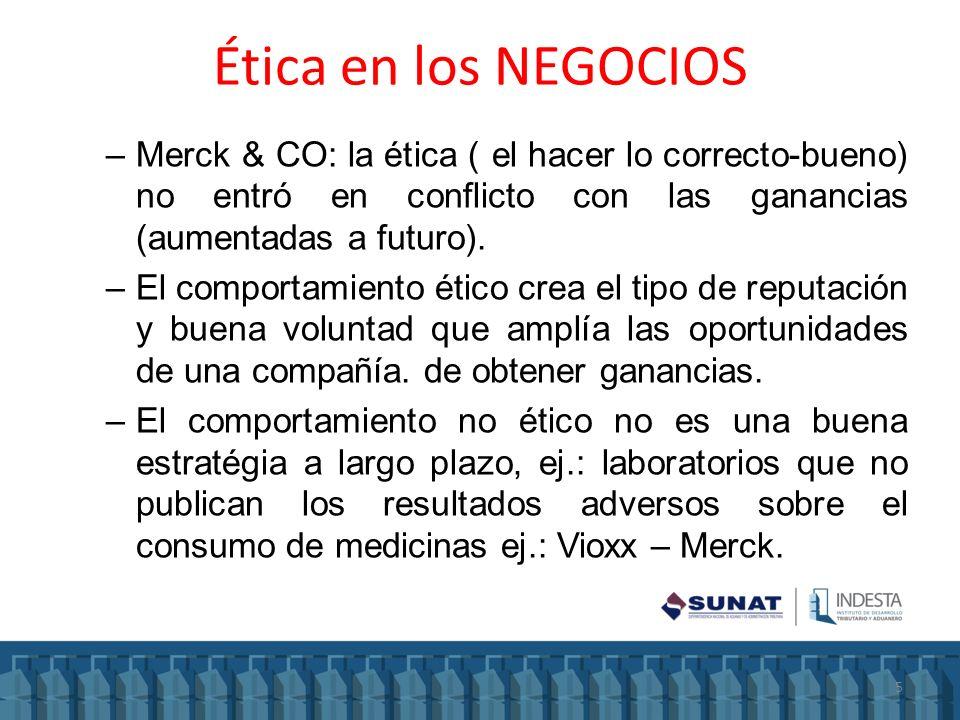 Ética en los NEGOCIOS Merck & CO: la ética ( el hacer lo correcto-bueno) no entró en conflicto con las ganancias (aumentadas a futuro).