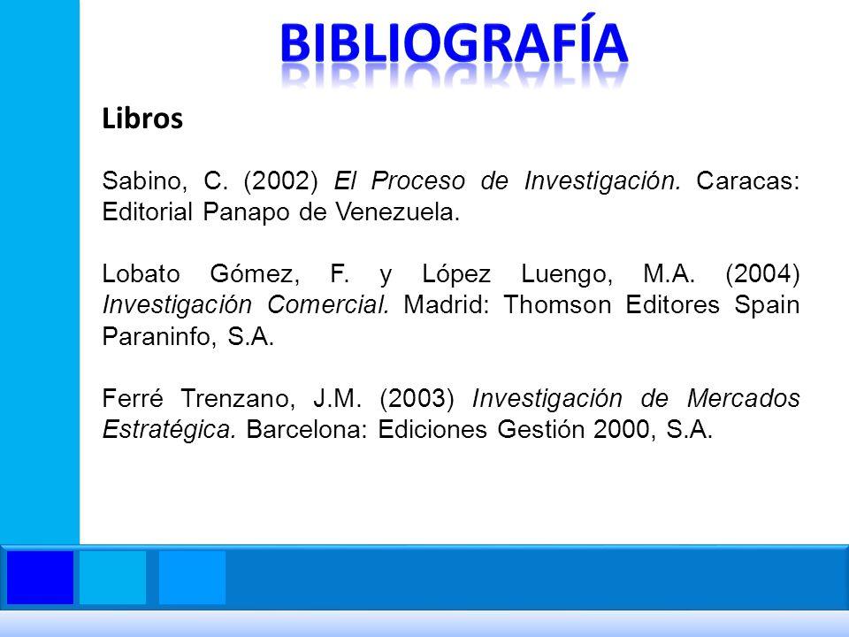 Bibliografía Libros. Sabino, C. (2002) El Proceso de Investigación. Caracas: Editorial Panapo de Venezuela.