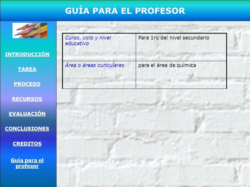 GUÍA PARA EL PROFESOR INTRODUCCIÓN TAREA PROCESO RECURSOS EVALUACIÓN