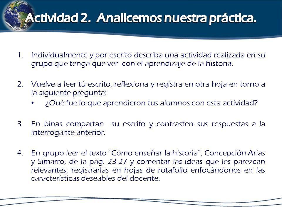 Actividad 2. Analicemos nuestra práctica.