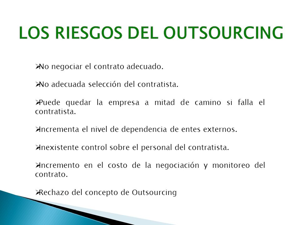 LOS RIESGOS DEL OUTSOURCING