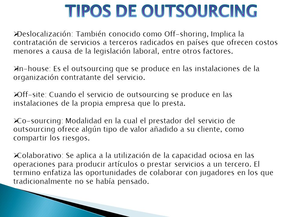 TIPOS DE OUTSOURCING