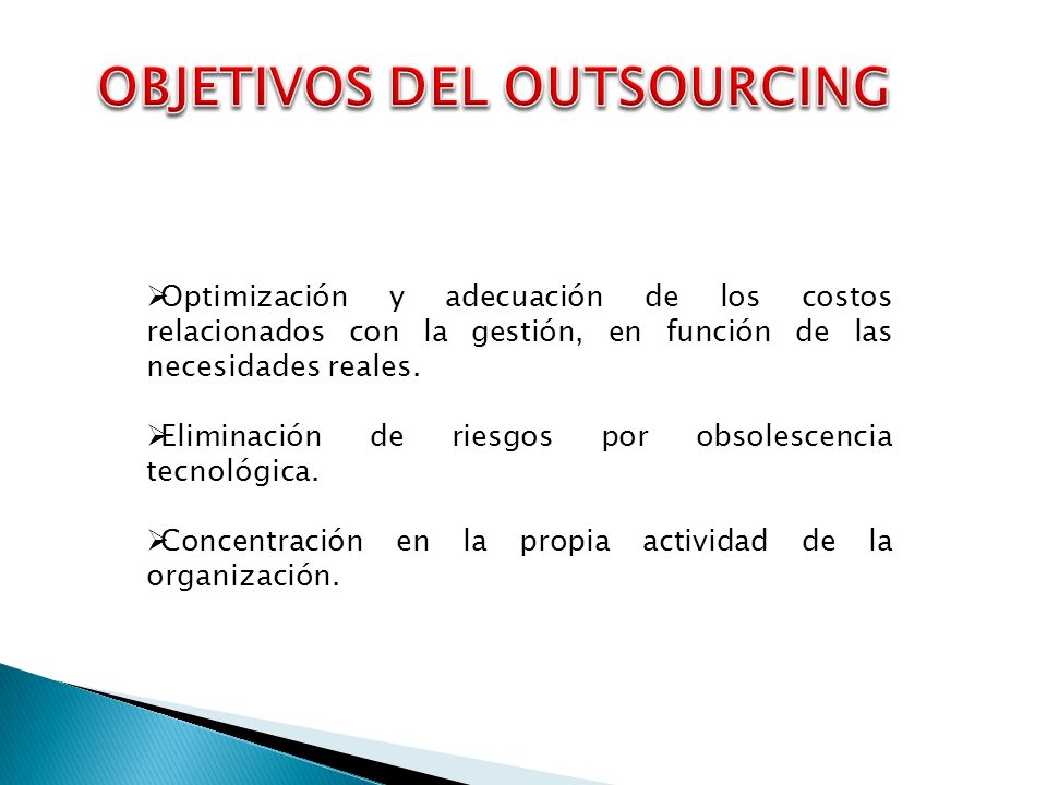 OBJETIVOS DEL OUTSOURCING