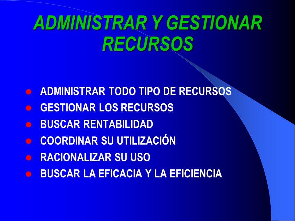 ADMINISTRAR Y GESTIONAR RECURSOS