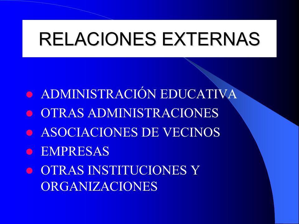 RELACIONES EXTERNAS ADMINISTRACIÓN EDUCATIVA OTRAS ADMINISTRACIONES