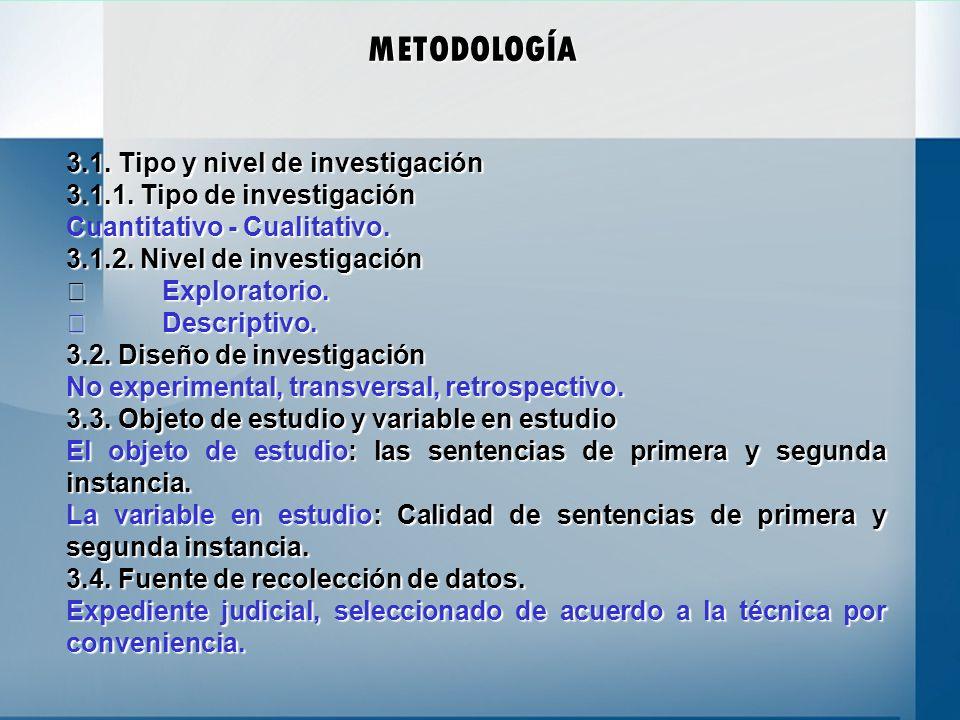 METODOLOGÍA 3.1. Tipo y nivel de investigación