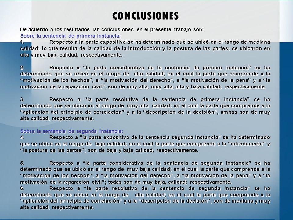 CONCLUSIONES De acuerdo a los resultados las conclusiones en el presente trabajo son: Sobre la sentencia de primera instancia: