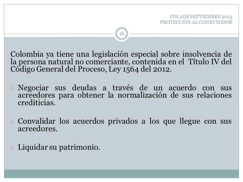 COLADE SEPTIEMBRE 2013 PROTECCIÓN AL CONSUMIDOR