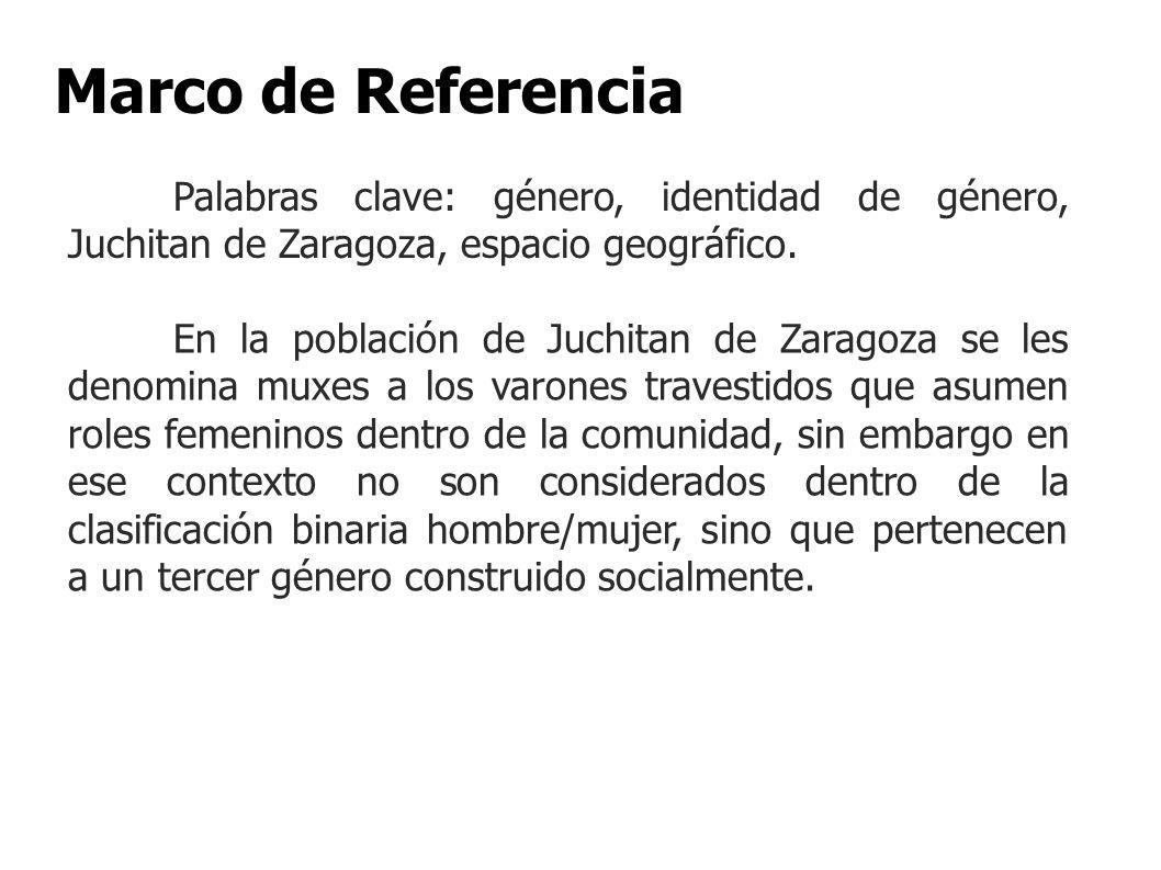 Marco de Referencia Palabras clave: género, identidad de género, Juchitan de Zaragoza, espacio geográfico.