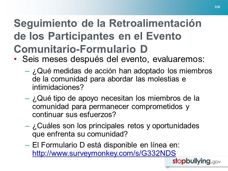 Seguimiento de la Retroalimentación de los Participantes en el Evento Comunitario-Formulario D