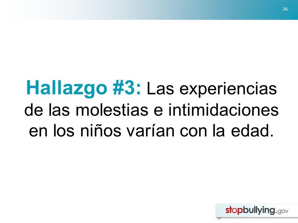 Hallazgo #3: Las experiencias de las molestias e intimidaciones en los niños varían con la edad.