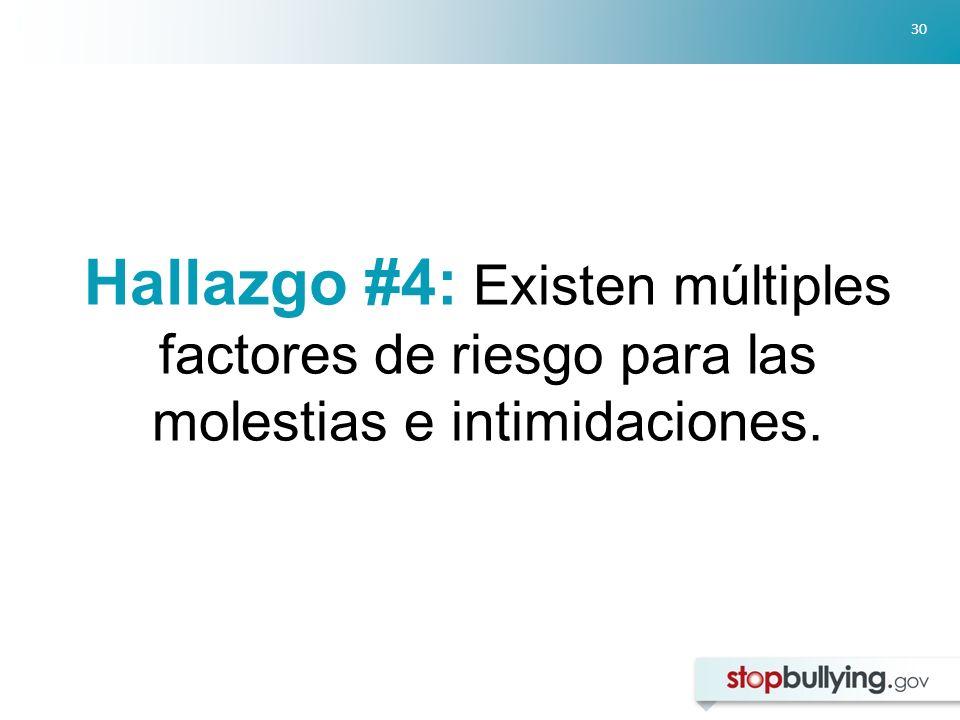 Hallazgo #4: Existen múltiples factores de riesgo para las molestias e intimidaciones.