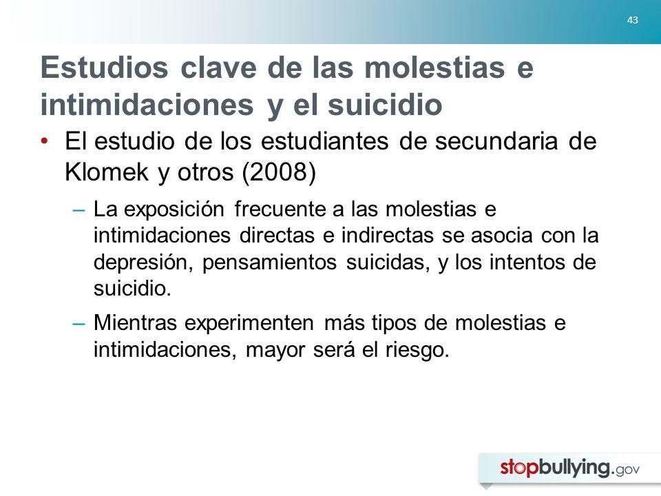 Estudios clave de las molestias e intimidaciones y el suicidio