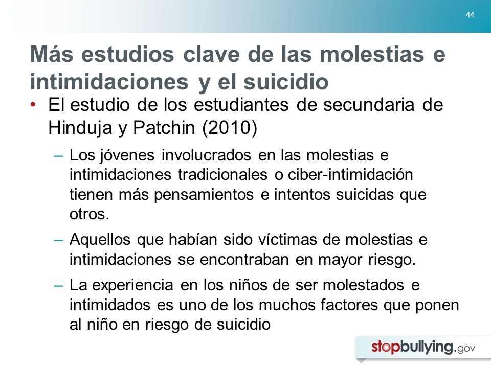 Más estudios clave de las molestias e intimidaciones y el suicidio