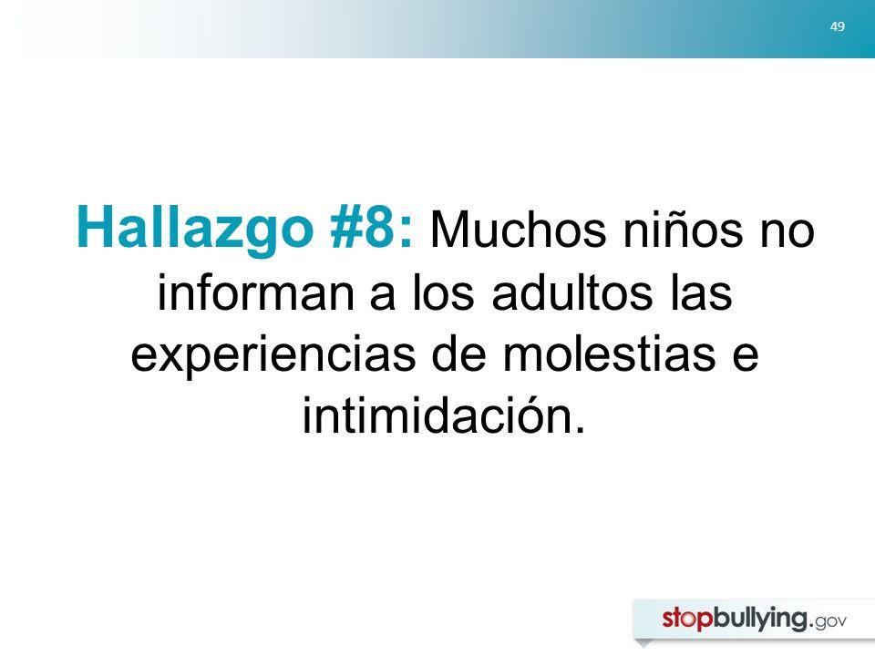 Hallazgo #8: Muchos niños no informan a los adultos las experiencias de molestias e intimidación.