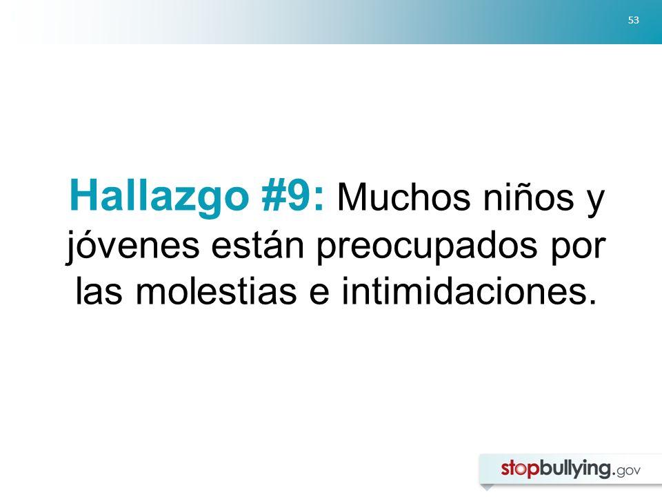 Hallazgo #9: Muchos niños y jóvenes están preocupados por las molestias e intimidaciones.