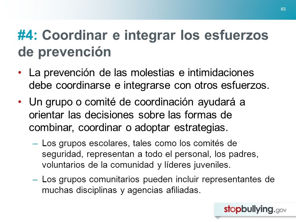 #4: Coordinar e integrar los esfuerzos de prevención