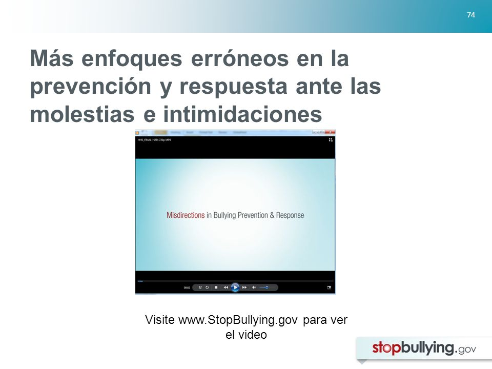 Visite www.StopBullying.gov para ver el video
