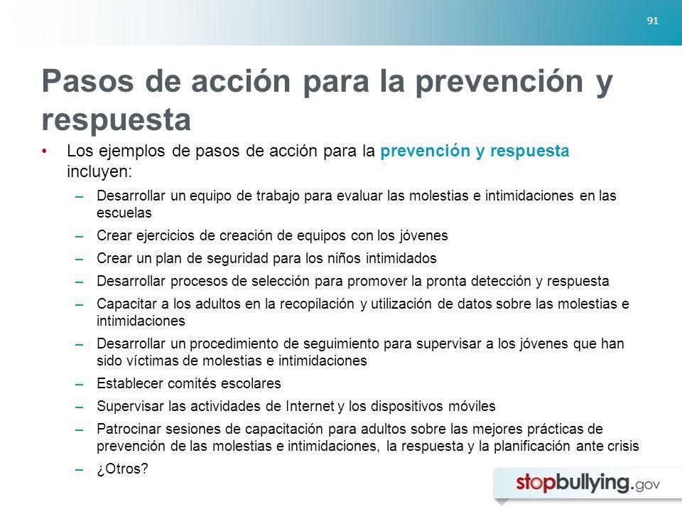 Pasos de acción para la prevención y respuesta