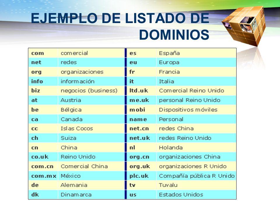 EJEMPLO DE LISTADO DE DOMINIOS