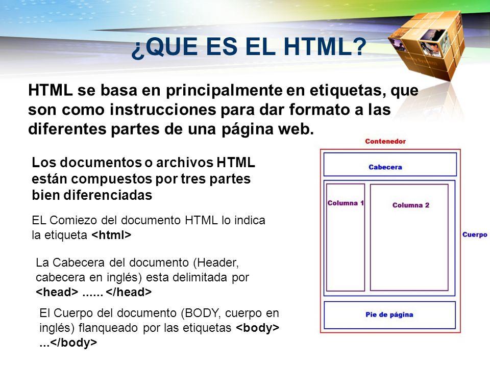 ¿QUE ES EL HTML HTML se basa en principalmente en etiquetas, que son como instrucciones para dar formato a las diferentes partes de una página web.