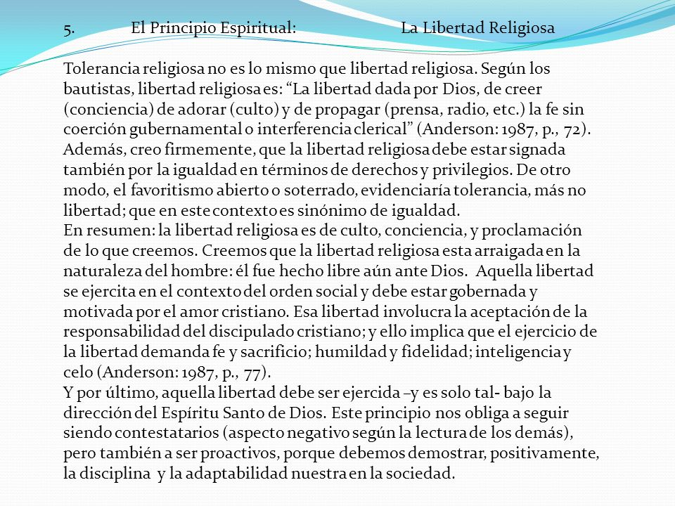 5. El Principio Espiritual: La Libertad Religiosa