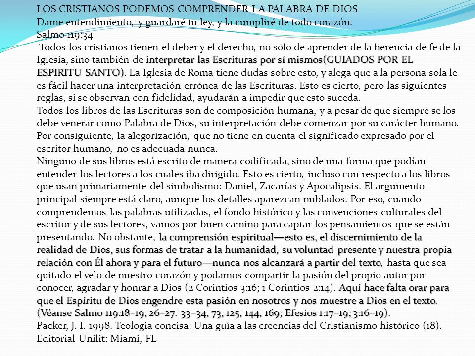 LOS CRISTIANOS PODEMOS COMPRENDER LA PALABRA DE DIOS
