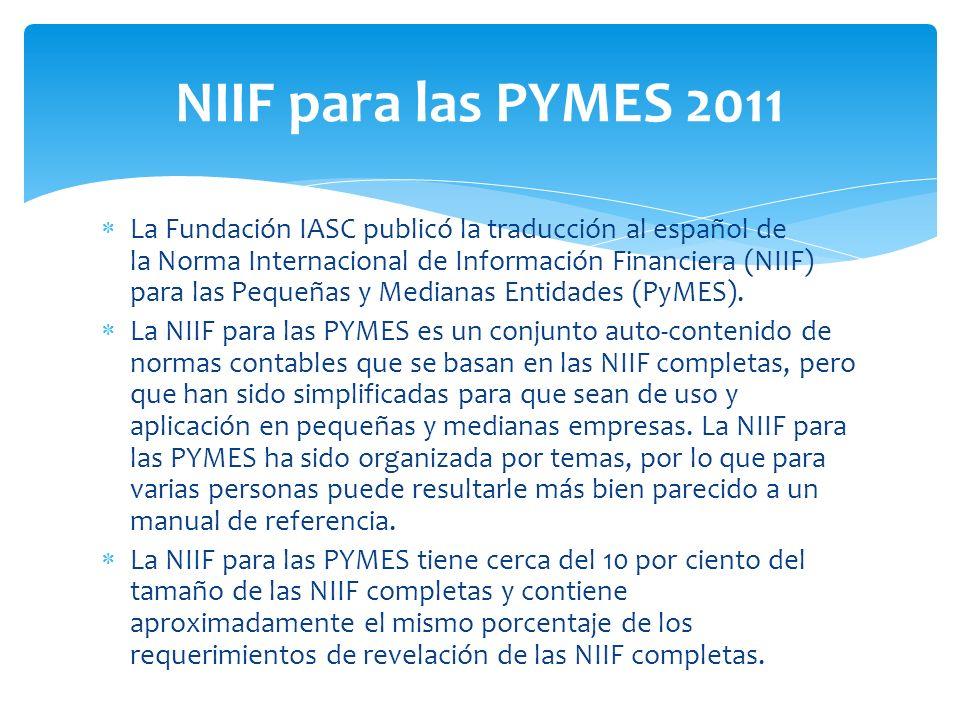 NIIF para las PYMES 2011