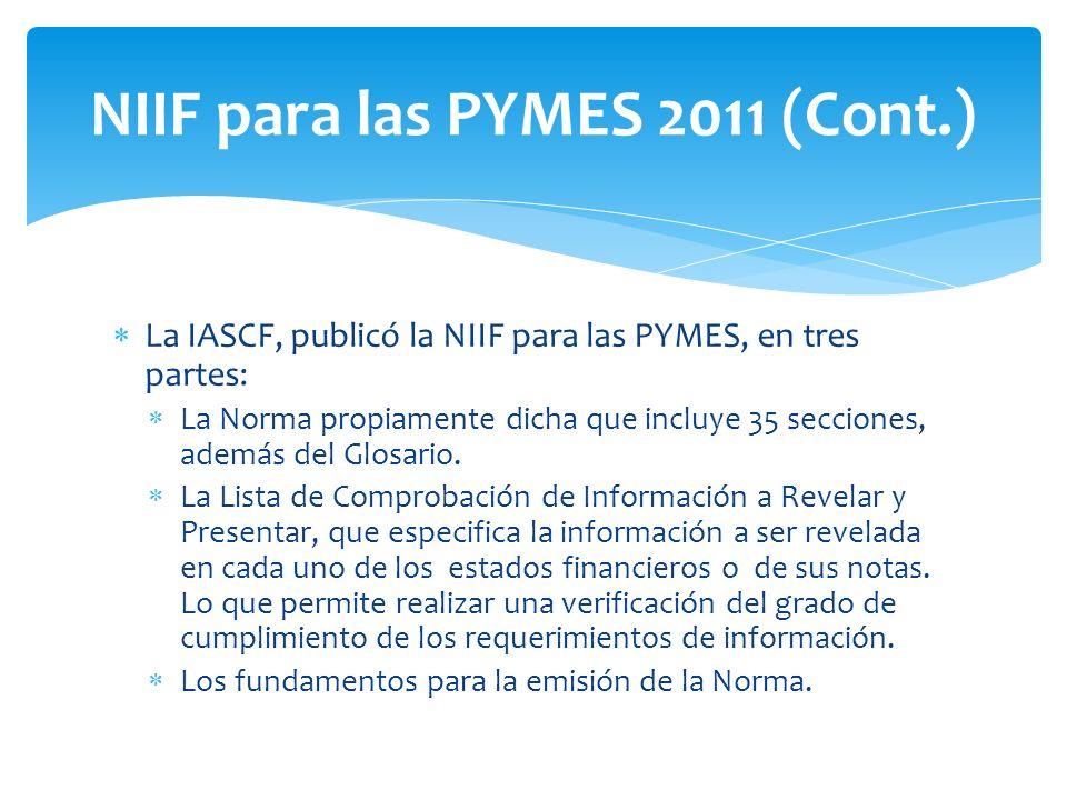 NIIF para las PYMES 2011 (Cont.)
