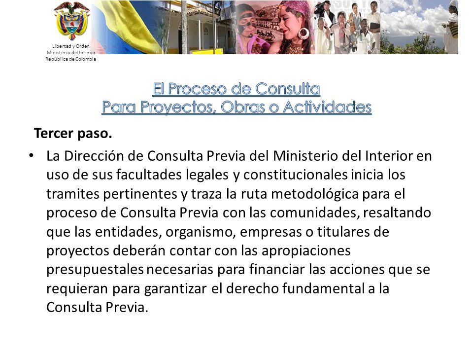 Libertad y Orden Ministerio del Interior. República de Colombia. El Proceso de Consulta. Para Proyectos, Obras o Actividades.