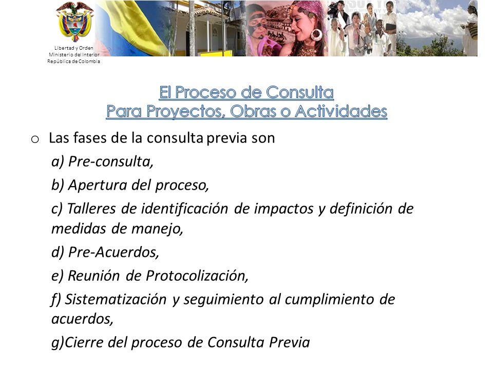 Las fases de la consulta previa son a) Pre-consulta,