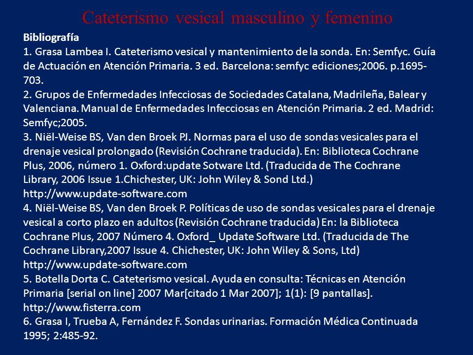 Cateterismo vesical masculino y femenino