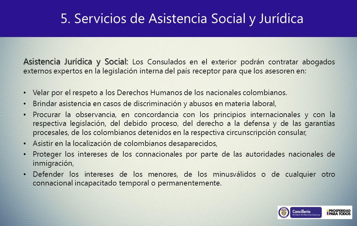 5. Servicios de Asistencia Social y Jurídica