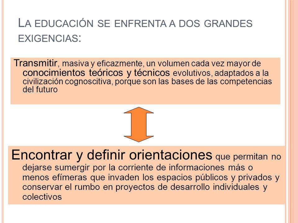La educación se enfrenta a dos grandes exigencias: