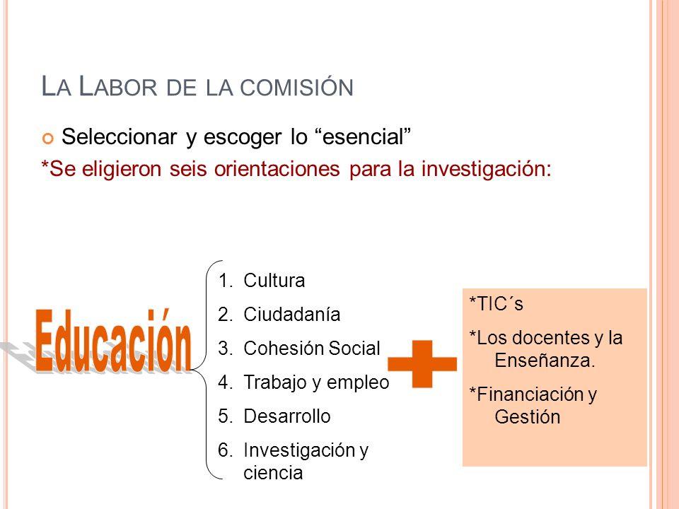 Educación + La Labor de la comisión