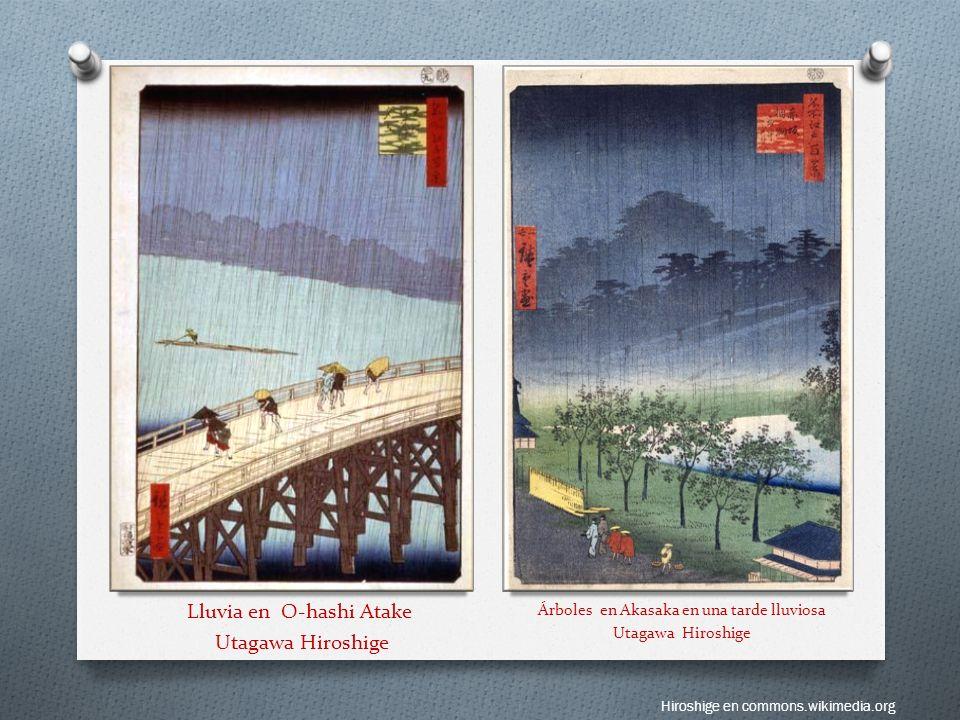 Lluvia en O-hashi Atake Utagawa Hiroshige