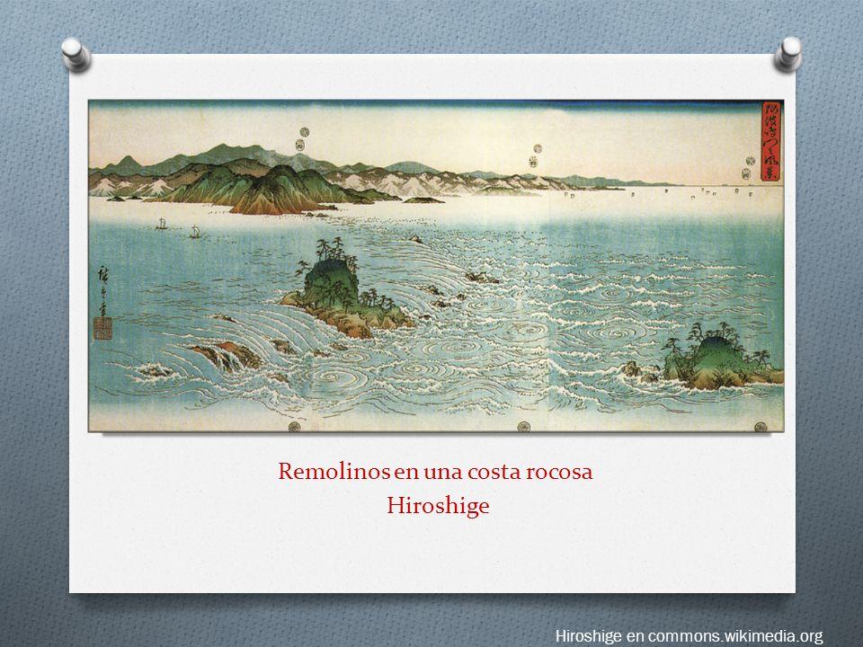Remolinos en una costa rocosa Hiroshige