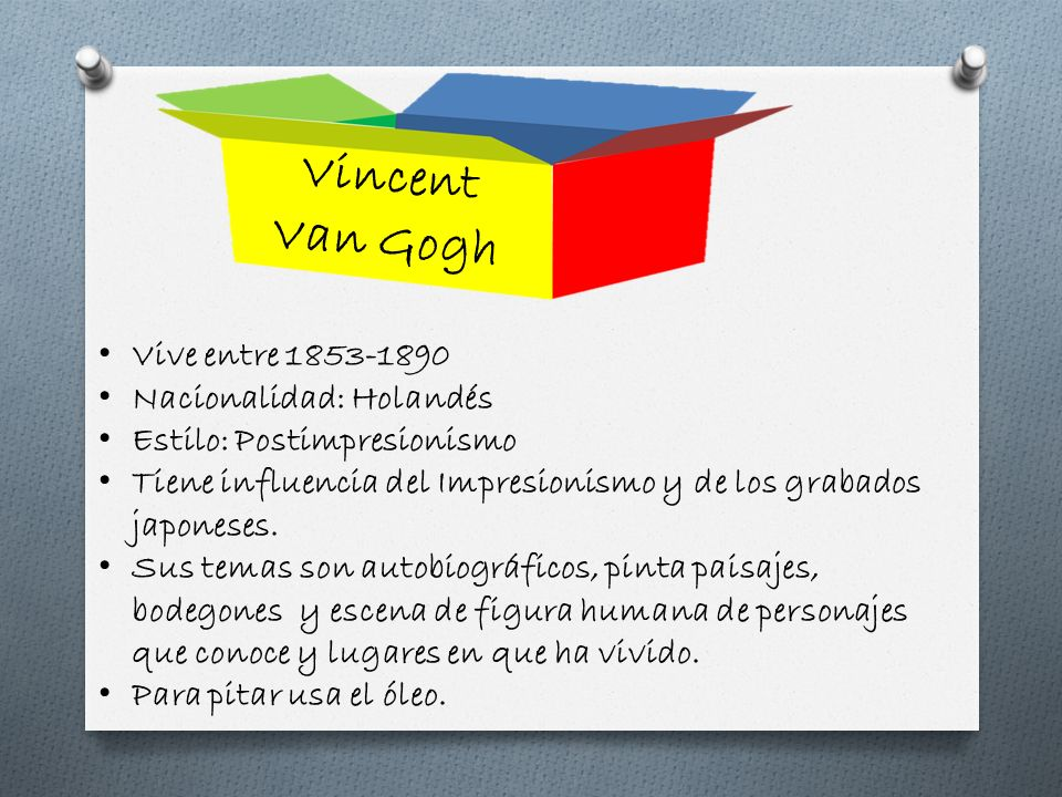 Vincent Van Gogh Vive entre 1853-1890 Nacionalidad: Holandés